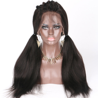 LUFFYHAIR 5x4.5 Silk Base Full Lace Wig Yaki Straight Peruvian Remy Hair 130% Density Pre Plucked Baby Hair Bleached Knots