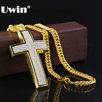 New 2015 Hip Hop 24K Gold Silver Rapper Vintage Crystal Cross Pendant Necklace Chain Men Jewelry