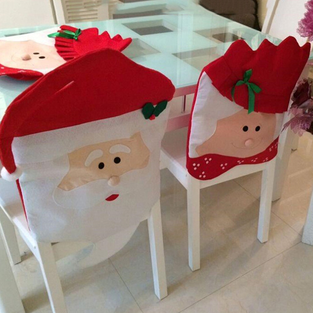 holiday decorative chair covers lifetime ivory christmas lady santa claus face cover bedroom kitchen living room quality non woven festive supplies