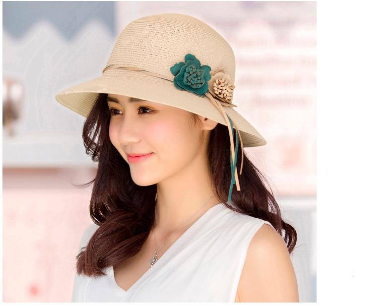 HTB1DD7yolHH8KJjy0Fbq6AqlpXaC - 2018 Summer New Solid Floppy Straw Hats For Women Flower Accessories ladies Summer Beach Sun Caps Panama Style Hat
