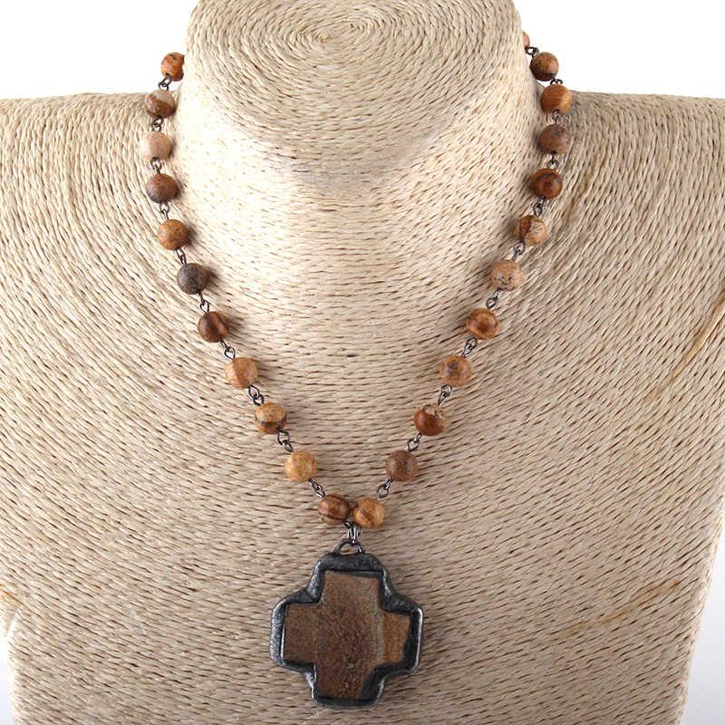 Модные ювелирные изделия натуральный камень розарийная цепь камень крест колье для женщин национальное ожерелье