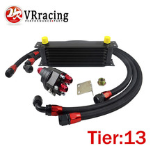 VR RACING UNIVERSAL 13 ROWS ENGINE OIL COOLER ALUMINUM OIL FILTER COOLER RELOCATION KIT 3X BLACK