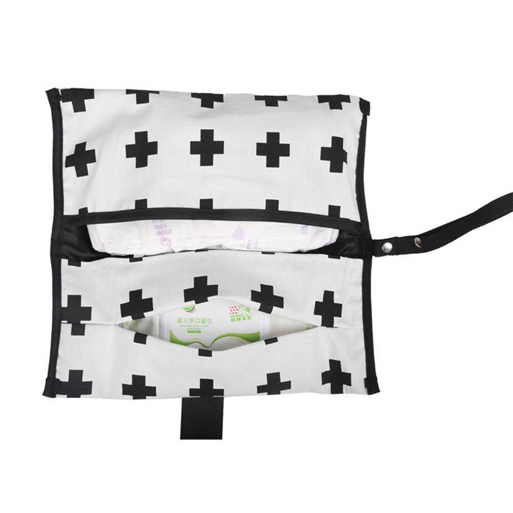 Tkaniny dla dzieci torby na pieluchy w paski mumia macierzyński torba wodoodporna Reusbale do przewijania niemowląt pieluchy dla niemowląt Stoller torba 30*30cm