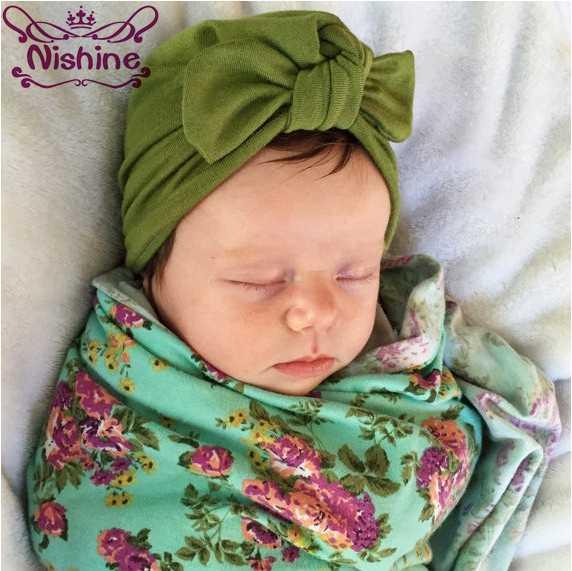9ec3aacb721 Nishine Newborn Children Supplies Hat Unisex Newborn Bohemia Style Turban  Caps Cotton Blend Bow Knot Baby