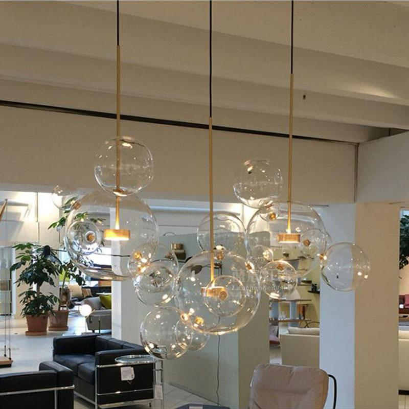 Clear glass ball living room chandeliers art deco bubble lamp shades chandelier Modern indoor lighting restaurant iluminacao