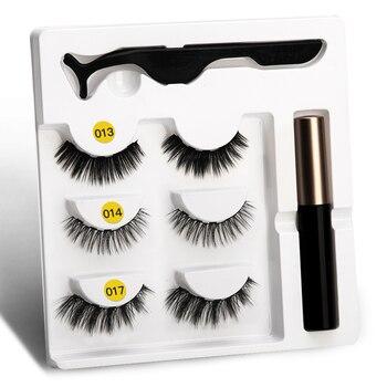 Delineador de ojos y pestañas postizas y pinzas líquido, juego de 5 imanes de larga duración, 3 pares, utensilio de extensión de pestañas