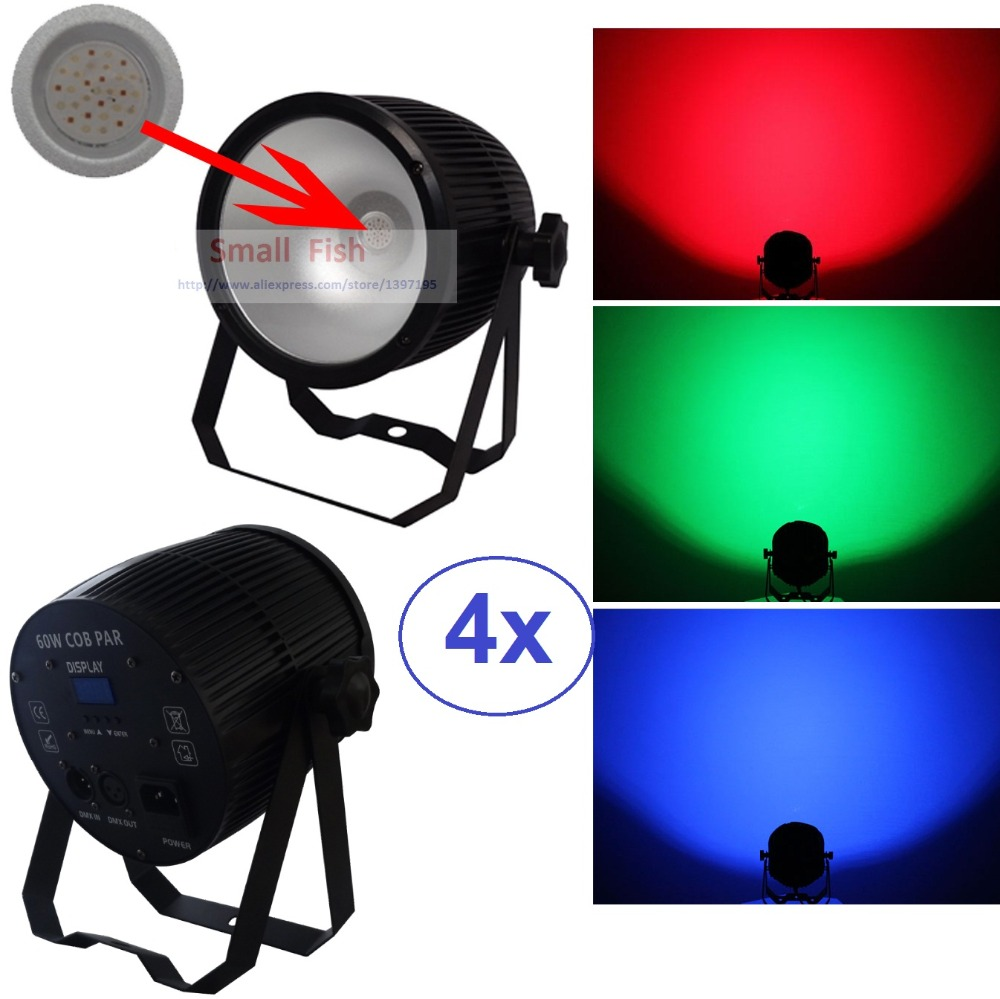 4xLot 60W RGB Par 64 COB LED Par Light Housing Blacklight COB Led PAR Can with DJ Light Disco Stage Bar Club DMX 512 Controller eurolite led par 64 rgb 36x3w short silver