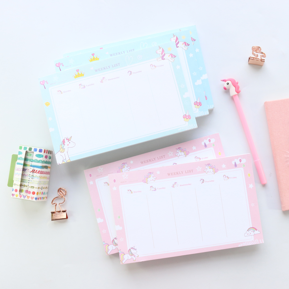 image regarding Cute Weekly Planners called US $12.14 20% OFFDomikee fresh adorable unicorn style and design college or university scholar table weekly planner pad,cartoon calendar year organizer memo pad stationery A5-in just