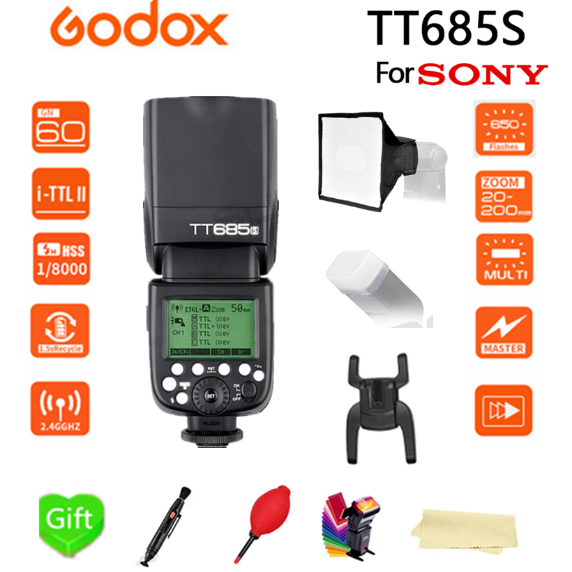 Godox TT685 TT685S 2.4G X-system TTL HSS 1/8000s Camera Flash +15*17 cm softbox for Sony DSLR Cameras A77II A7RII A7R A58 A99