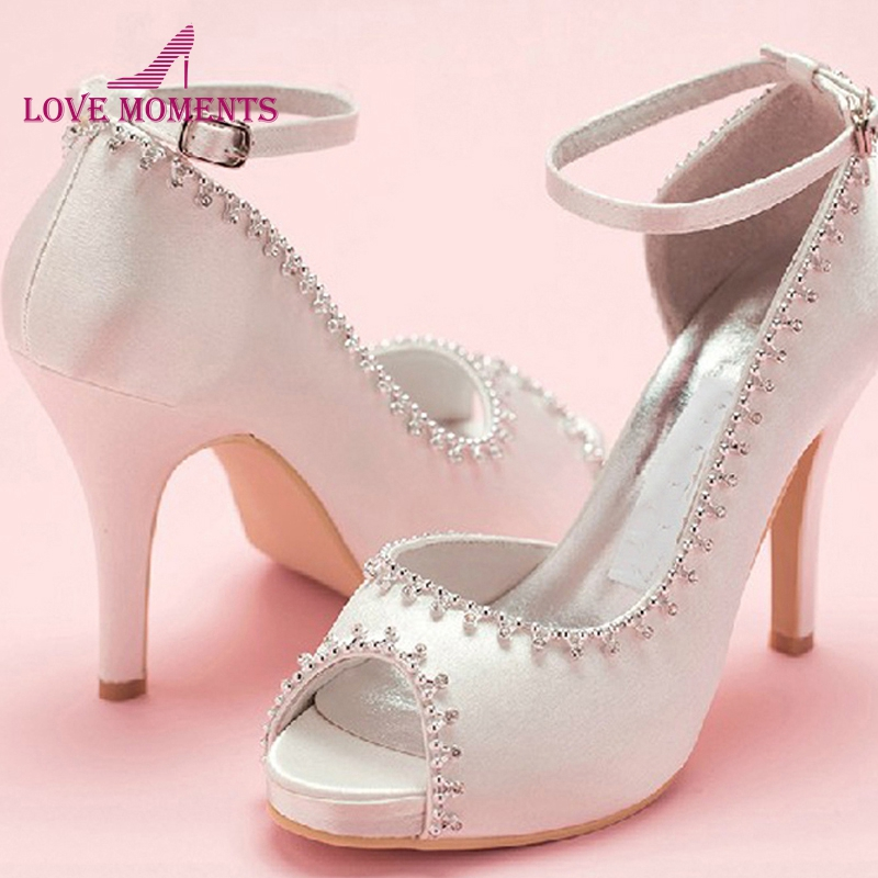 Peep Toe Satin Wedding Dress Shoes Woman White Bridal Shoes Lady Prom Prom High Heels Bridesmaid Shoes with ankle strap 4 fashion white lady peep toe shoes for wedding graduation party prom shoes elegant high heel lace flower bridal wedding shoes