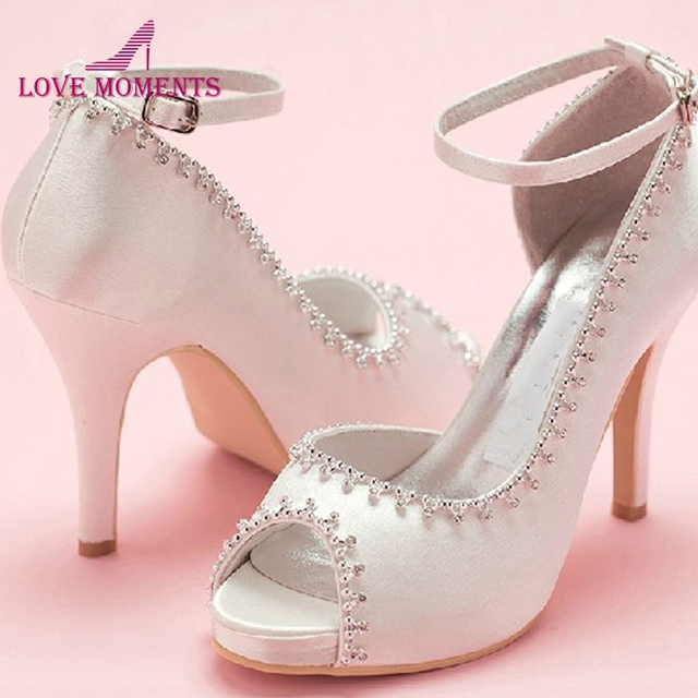 Peep Toe Satin Wedding Dress Shoes Woman White Bridal Shoes Lady Prom Prom  High Heels Bridesmaid ad98050961