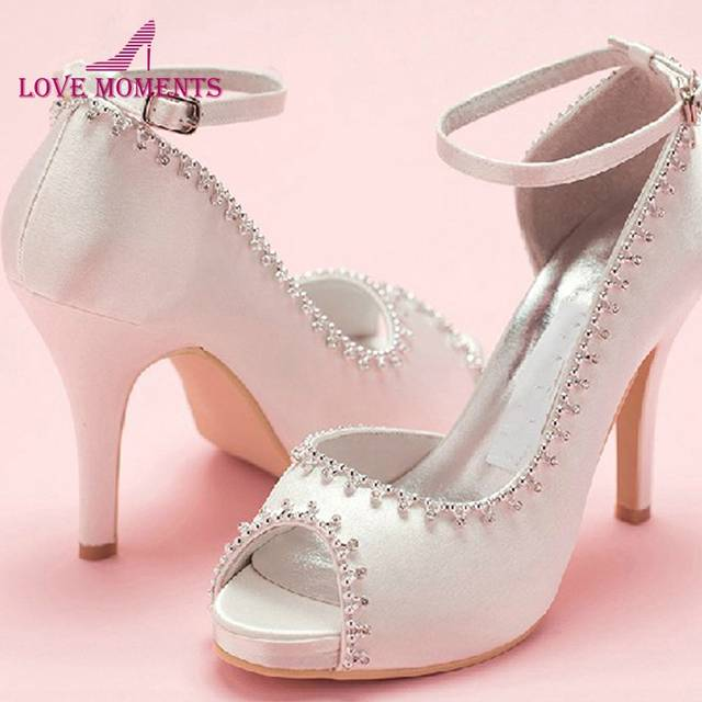 cc208198b787 placeholder Peep Toe Satin Wedding Dress Shoes Woman White Bridal Shoes  Lady Prom Prom High Heels Bridesmaid