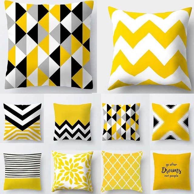 Yellow Patterns Decorative Cushion Covers