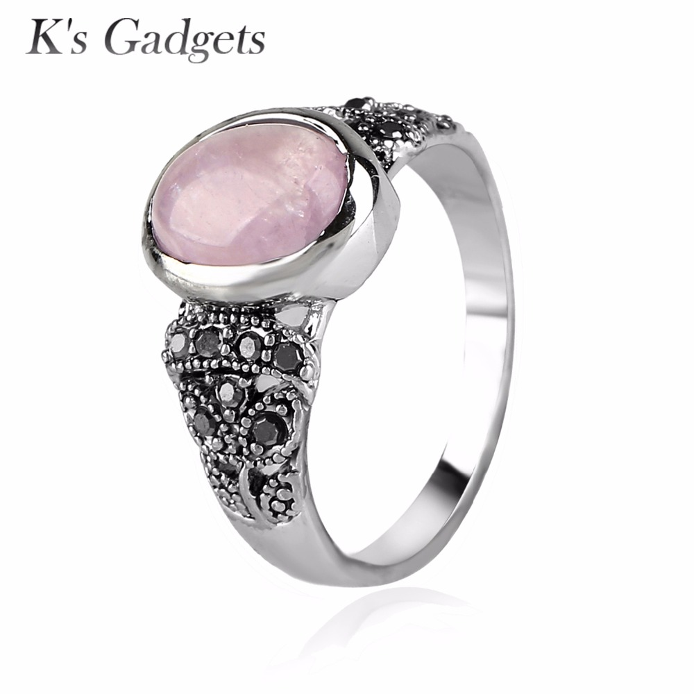Natural Stone Ring Pink Quartz/Purple /Green Stone Female Jewelry Black CZ Rhinestone Silver color Women Rings