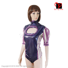 Sexy Purple Latex swimsuit Catsuit Gummi Leotard open bust keyhole short sleeves Rubber Body suit Wrap Jumpsuit Teddy TC-005