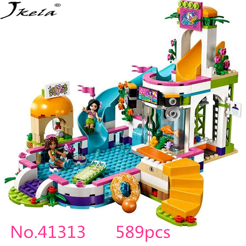 [New] Compatible legoingly friends 41313 girls series of all educational heartlake pool model building brick toys for chidren lepin building blocks model 01013 compatible legoing friends summer swimming pool 41313 educational toys for children