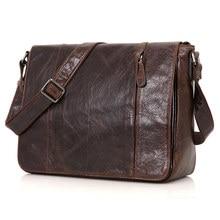 Vintage Coffee / Brown Genuine Leather Men Messenger Bags Men's Bag For Ipad Men Shoulder Bag Cowhide Travel Bag Man #MD-J7338