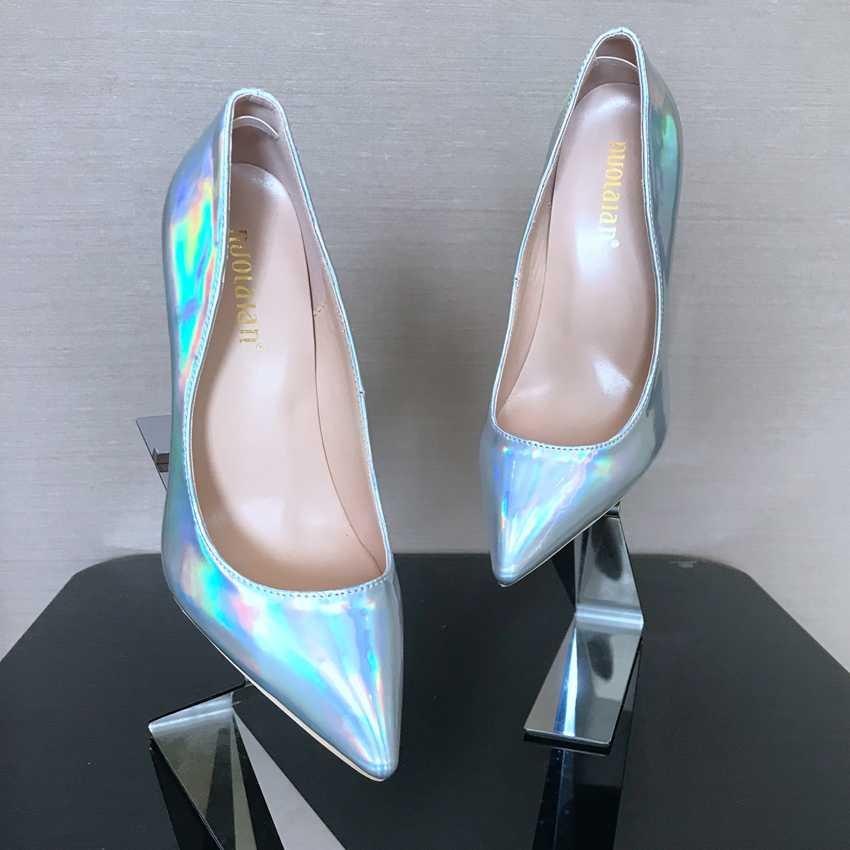 女性のパテントレザー高靴ポインテッドトゥハイヒールの女性のプラットフォームパンプス薄型ハイヒールの靴ポンプブーツ