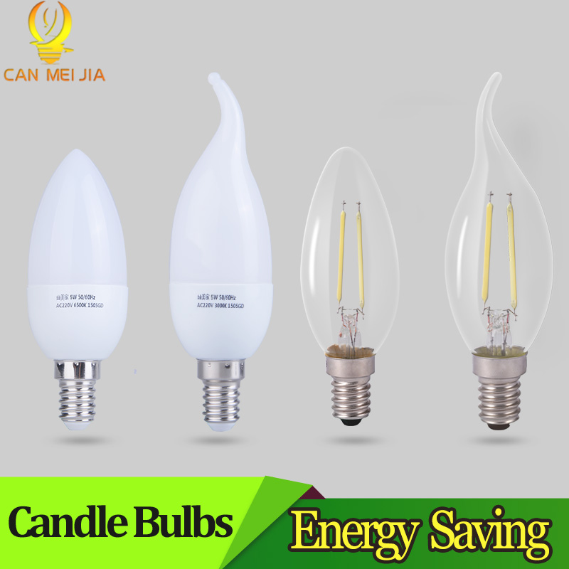 CANMEIJIA E14 LED Candle Bulb Lamp 2W 3W 4W 5W Led Filament Light Bulb 220V Edison Leds Energy Saving Lamps For Home Chandelier