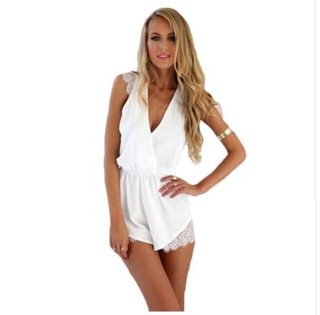 Sexy V-neck Lace Patchwork Jumpsuit Rompers Plus Size Chiffon Summer Elegant Overalls Boho Short Sleeve Playsuit Solid Slim 40@W