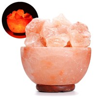 110V Hand Carved Natural Salt Rock Crystal Himalayan Night Light Tea Light Attractive Air Purifying Night