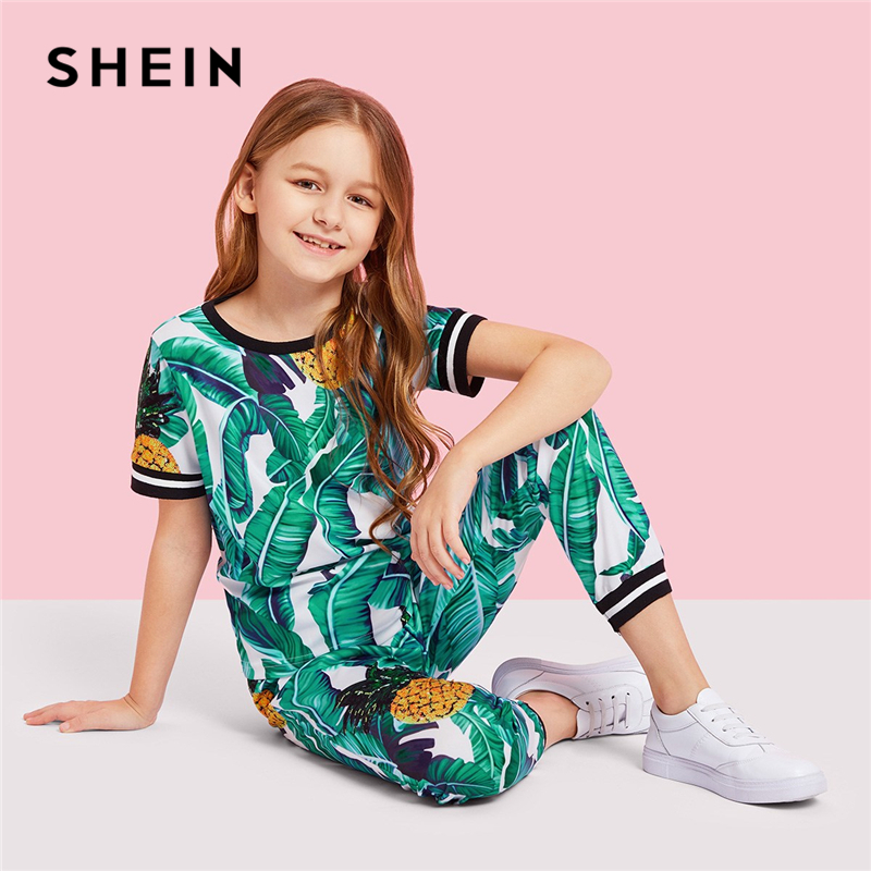 SHEIN Kiddie Girls Jungle Leaf Print Top And Pants Casual Set Kids Clothing Sets 2019 Summer Korean Short Sleeve Beach Suit Sets roxy big girls classic short sleeve logo rashguard
