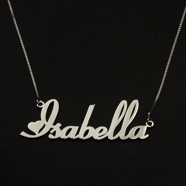 US $11 24 |Aliexpress com : Buy Gold Color Custom Nameplate Pendants  Necklaces Box Chain Personalized Cute Heart Style Cursive Font Name  Necklace
