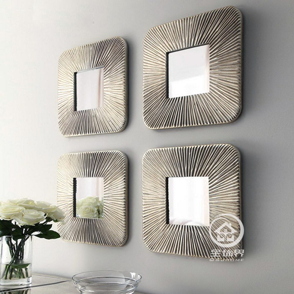 Mirrored wall decor fretwork square wall mirror framed wall art set ...