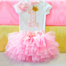 Ai Meng Baby Girl Clothes 1st Birthday Cake Smash Outfits Infant Clothing Sets Romper+Tutu Skirt+Flower Cap Newborn Baby Suits