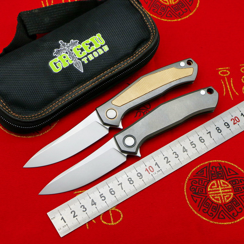 Green thorn poker Limited Edition D2 blade titanium alloy handle camping outdoor survival pocket knife practical