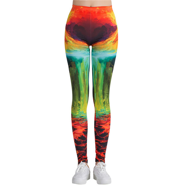 Elastic High Waist Leggings for Women with Colorful Prints