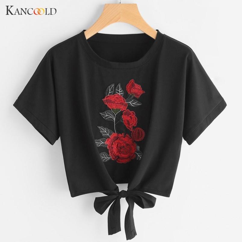 2017 Été T-shirt Femmes Casual Lady Top T-shirts Coton T-shirt Femme Marque Vêtements T Shirt Floral Broderie Tops Courts MY093