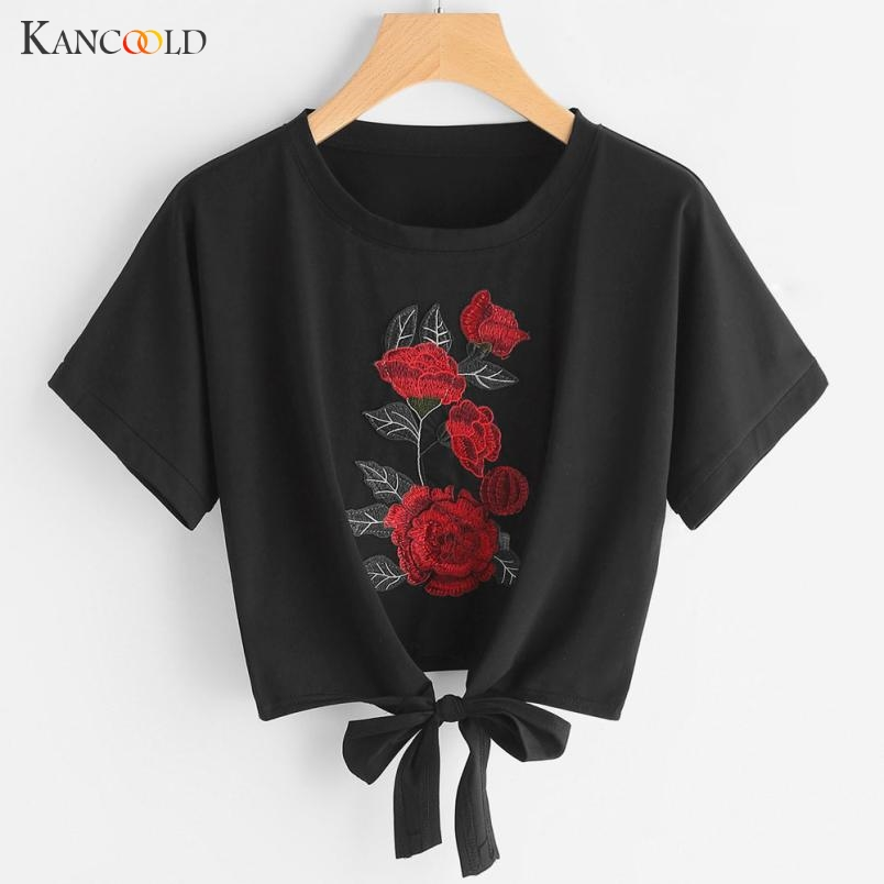 2017 Summer T-shirt Women Casual Lady Top Tees Cotton Tshirt Female Brand Clothing T Shirt Floral Embroidery Cropped Tops MY093
