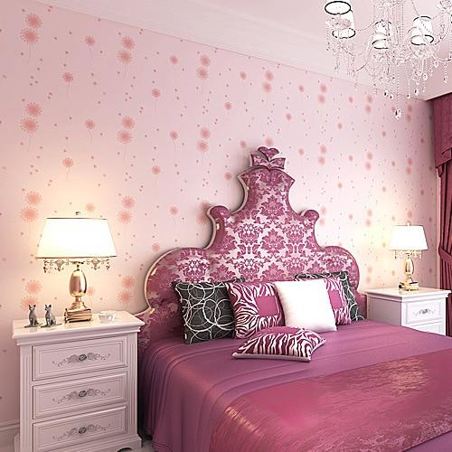 3D non-woven wallpaper dandelion children bedroom living room background wall paper coverings Pink Purple for Kids girls