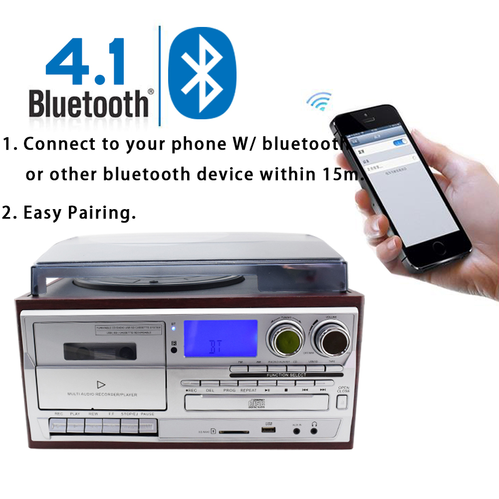 US $399 0 |MPooling USB Turntable LP Vinyl Record Player Cassette Recorder  CD Player 4 1 Bluetooth AM/FM Radio Aux in RCA Line out-in Turntables from
