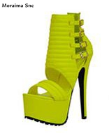Moraima Snc Newly arrival women sandals Print high platform open toe Ankle side buckle strap thin high heel party shoes moraima snc newest sexy women black string bead concise type sandals open toe thin high heel ankle strap hook solid party shoes