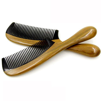 New High Quality 1PC Horn Comb Wooden Comb Handle Handmade Sandalwood Fine Tooth Curly Hair Comb Mustache Beard Comb Hair Care Health & Beauty