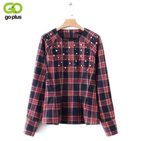 GOPLUS 2018 New Red Plaid Print Shirts Pearl Decor Women Spring Autumn O Neck Long Sleeves