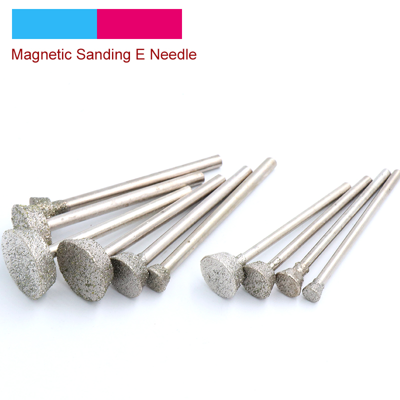 5pcs 1 To 16mm Diamond Magnetic Sanding E Needle Diamond Grinding Head Inverted Trapezoid Jade Carving Burrs Dremel Accessories