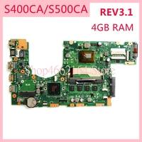 S400CA motherboard REV3.1 For ASUS S400CA 2117/ I3 /I5 /7 CPU 4GB RAM Laptop motherboard S500C S400C S500CA Notebook mainboard