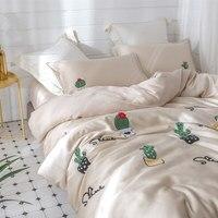Высокое качество тенсель 4 шт. набор 3D вышивка кактус постельное белье королева кровать набор кашне постельные принадлежности наборы корол