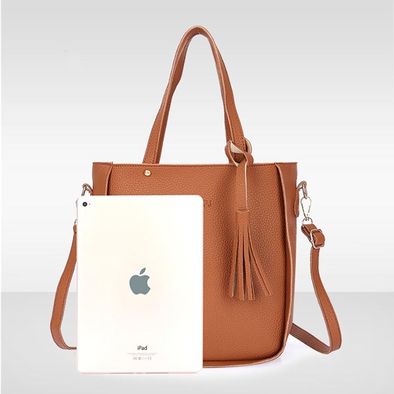 4pcs/Set Fashion Women Bag PU Leather Shoulder Bag Women Clutch Handbag Set Large Shoulder Bag Tote bolsa feminina Messenger Bag 1