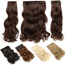s-noilite 3pc/Set 190G Long Synthetic Hair Clip In Hair Extension Heat Resistant Hairpiece Natural Wavy Fake Hair