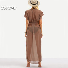 COLROVIE Brown Drawstring Waist V Neck Split Dress