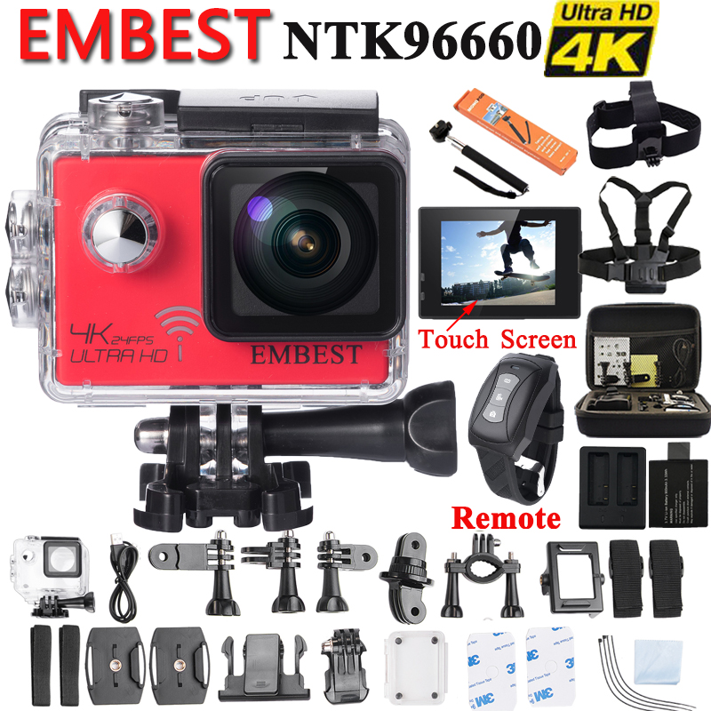 EMBEST EM81RT EM61R Ultra HD 4K 24fps Sports Action Camera Touch Screen Waterproof WiFi Remote Built