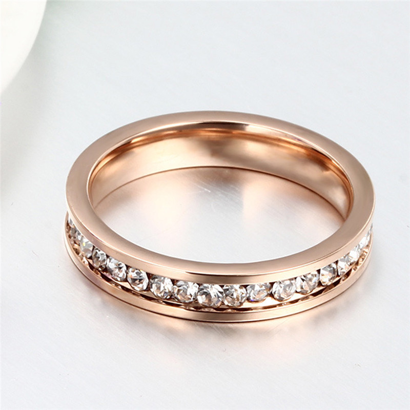 New Zircon Stainless Steel Rings For Men Women CZ Crystal Ring Band Rose Gold Wedding Engagement Ring Jewelry bague Size 9 10