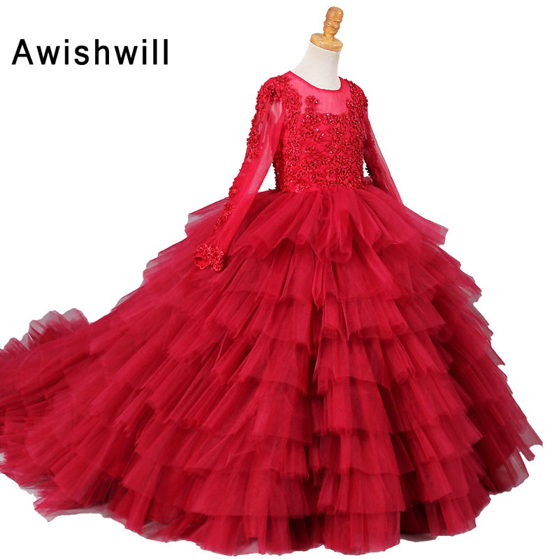 Real Photo Red Ball Gown   Flower     Girl     Dresses   2019 Long Sleeve Beaded Appliques Tiered Tulle   Girls   Communion   Dress   Birthday Party