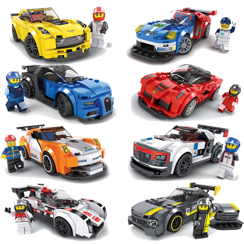 Racing Car Building Blocks Educational Action Figures Compatible City Enlighten Bricks Christmas Gift Toys For Kids