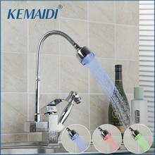 Kemaidi Кухня смеситель LED Кухня раковина torneira Cozinha все вокруг повернуть Поворотный LED воды на выходе кран 92347A