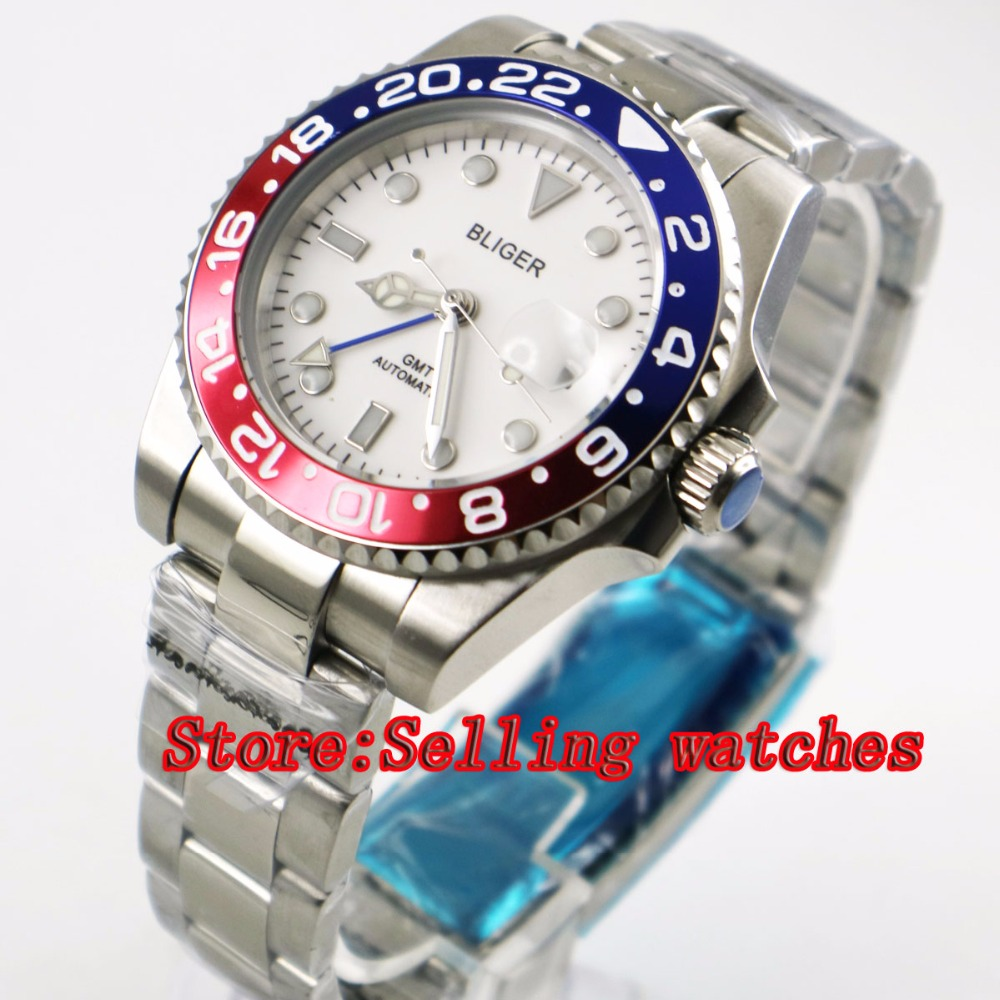40mm Bliger White Dial Red blue ceramic bezel blue GMT Luminous Hands Sapphire Glass Automatic Movement Men's Mechanical watches 40mm bliger white dial white ceramic bezel gmt luminous hands sapphire glass automatic movement men s mechanical watches